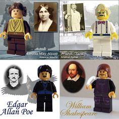 Literary (L)egos - Louisa May Alcott, Mark Twain, Edgar Allan Poe, WIlliam Shakespeare Legos, Lego Minifigs, Lego Mechs, Lego People, Lego Figures, Word Nerd, Lego Worlds, Book Writer, Cool Lego