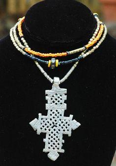 Long Tribal Boho Mixed Media Ethiopian Coptic Cross Necklace