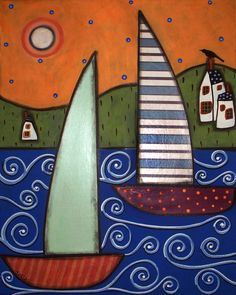 Two Sailboats and Houses Folk Art Karla by KarlaGerardFolkArt