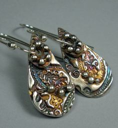 Earrings | FebraRose Designs.  'Paisley'.  Sterling silver with patina. PMC