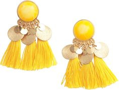 H&M - Tasseled Earrings - Yellow - Ladies