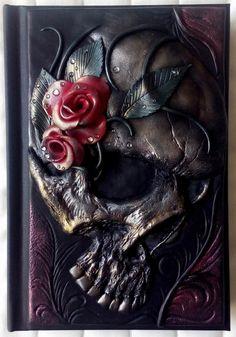 Gothic skull polymer clay journal fantasy horror goth by ClaymanPL