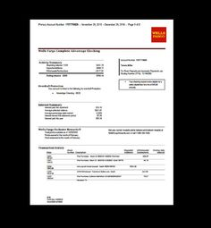 Lovely Bank, Statement, Wells Fargo Template, Fake, Custom, Printable, Income,
