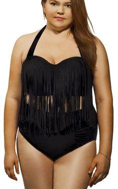 MAXGIRL Plus Size Tassel High Waist Bikini Vintage Swimwear Swimsuit (XL, Black)