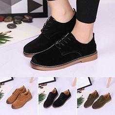 9124ce8cbdd41 Derbies Chaussures de Ville Femme, QinMM Suede Mode Martin Classique  Mocassins Chaussures Lacet Chaussures Plate 2018