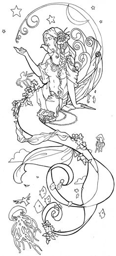 clik this pin for more mermaid coloring pages. coloring pages for adults,coloring pages,adult coloring pages,mermaid coloring pages Mermaid Tattoo Designs, Mermaid Drawings, Mermaid Tattoos, Mermaid Art, Mermaid Outline, Mermaid Coloring Pages, Coloring Book Pages, Tattoo Gesicht, Tatoo Art