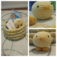 Cesta y pollito crochet amarillo