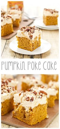 Pumpkin Poke Cake scattered with pockets of cream cheese frosting