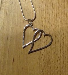 Double Heart Pendant on snake chain Double Heart Necklace, Anniversary Gifts, Pendant Necklace, Personalized Items, Silver, Jewelry, Birthday Presents, Jewlery, Wedding Anniversary Gifts