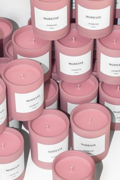 With notes of rose and rain Nudesse is praised by many as the most decadent rose fragranced candle on the market. It is generously infused… Luxury Candles, Diy Candles, Candle Jars, Candle Branding, Candle Packaging, Strong Scented Candles, Perfume Good Girl, Perfume Lady Million, Homemade Perfume