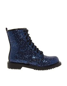 Shellys London Surba Navy Glitter Lace Up Worker Ankle Boots - wedding boots? Botas Doc Martens, Dr. Martens, Short Heel Boots, Slip On Boots, Heeled Brogues, Heeled Boots, Oxfords, Cute Shoes, Me Too Shoes