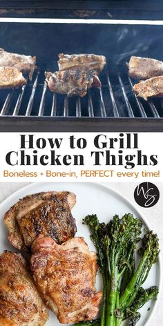 Grilled Chicken Thighs Boneless, Bone In Chicken Thighs, Healthy Grilling Recipes, Grilling Tips, Grilling Chicken, Dairy Free, Gluten Free, Perfect Chicken, Grills
