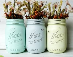 Dorm Decor Pink Copper Gold Mint Cream Painted mason jar by BeachBlues | Etsy