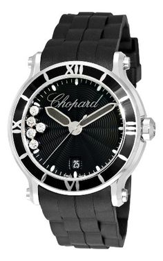 Chopard Women`s 288525-3005 Happy Sport Round Black Waved Dial Watch $5,768.65
