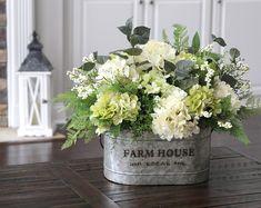 Farmhouse Floral Centerpiece~Rustic Arrangement~Hydrangea Arrangement~Hydrangeas and Greenery in Farmhouse Galvanized Pail