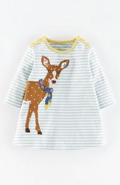 Mini Boden 'Stripy' Appliqué Jersey Dress (Baby Girls) available at #Nordstrom