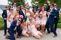 Gallery & Inspiration | Have my girls in light pink and groomsmen in navy blue                                                                                                                                                     More