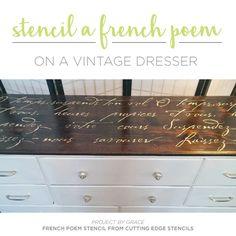 Cutting Edge Stencils shares a DIY stenciled dresser makeover using the French Poem Stencil, a typography pattern. http://www.cuttingedgestencils.com/french-poem-diy-craft-stencil-design.html