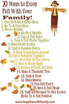 Free printable for framing for your fridge.  20 Ways to Enjoy fall with your family!