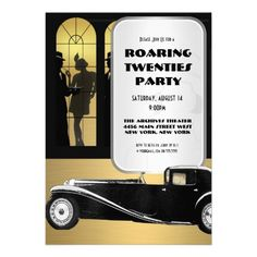 Vintage Roaring 20s Retro Theme Flapper Party Personalized Invitation