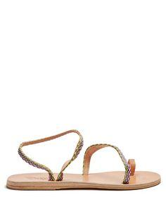 ANCIENT GREEK SANDALS Apli Eleftheria Raffia And Leather Sandals. #ancientgreeksandals #shoes #sandals