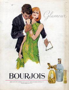 Bourjois (Perfumes) 1964 Glamour, Hof Vintage advert Perfumes illustrated by Hof | Hprints.com