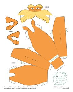 The Lorax Free Template The Lorax, Dr Seuss Lorax, Dr Suess, Sunshine Birthday Parties, Dr Seuss Birthday Party, Dr Seuss Activities, Book Activities, Paper Toys, Paper Crafts