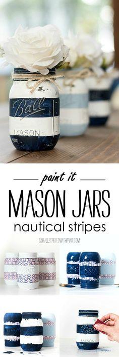 Nautical Mason Jars - Painted Distressed Mason Jars - Striped Mason Jars - Navy and White Mason Jars - Beachy Mason Jars - Coastal Stripe Mason Jars