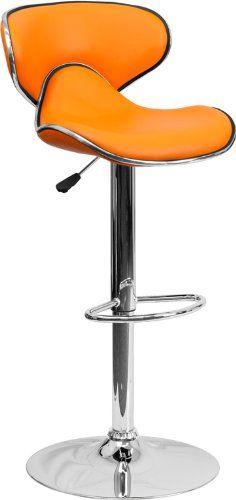 Flash Furniture Contemporary Cozy Mid-Back Vinyl Adjustable Height Stools, Set of 2, Orange