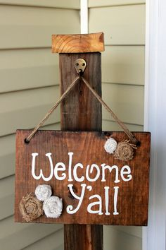 Welcome Y'all Wooden Sign