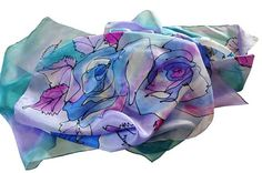 Blue roses/Painted silk scarf/Hand Painted Silk skarf by GABYGA