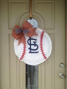 Burlap St. Louis Cardinals baseball wreath. Go Cards!!