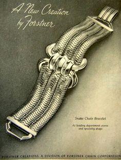 1946 Forstner jewelry ad 'Snake Chain Bracelet'