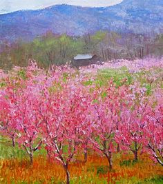 Buy Original Art by Julia Lesnichy | oil painting | Blooming Peach Trees at UGallery