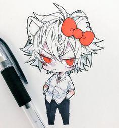 Chibi boy hello kitty awesome anime arts in 2019 чиби, аниме Anime Chibi, Kawaii Anime, Chibi Boy, Pretty Art, Cute Art, Roald Dahl, Wie Zeichnet Man Manga, Modelos 3d, Character Design Animation