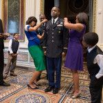 First Lady Michelle Obama Participates in a Promotion Ceremony for White House Fellow Lieutenant Colonel Archie Bates