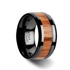 OBLIVION Red Oak Wood Inlaid Black Ceramic Ring with Bevels - 6mm - 10mm