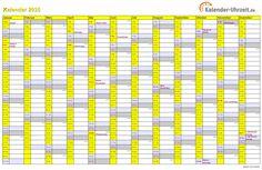 Kalender 2015 in GELB - A4, Querformat, EINSEITIG #KalUhr