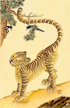 원본 클릭! 민화(民畵) 호작도(虎鵲圖) 호랑이는 재앙을 막아주고, 용은 다섯 가지 복을 지켜준다는 속설에...