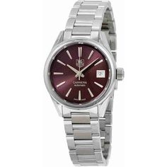 Tag Heuer Carrera Automatic Calibre 9 Burgundy Dial Stainless Steel... ($1,445) ❤ liked on Polyvore featuring jewelry, watches, skeleton watches, stainless steel jewellery, analog watches, stainless steel wrist watch and stainless steel jewelry