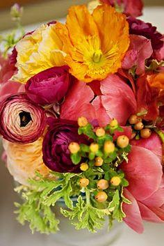 Tulips, ranunculus, hypericum berries