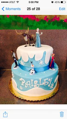 Frozen cake with characters Frozen Themed Birthday Party, 6th Birthday Parties, Birthday Fun, Birthday Ideas, Birthday Cake, Cupcakes, Cupcake Cakes, Bolo Artificial, Pastel Frozen