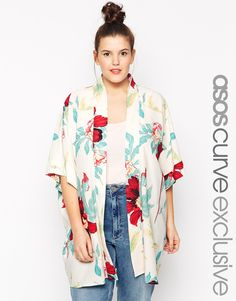 Image 1 ofASOS CURVE Exclusive Kimono in Gorgeous Floral Print