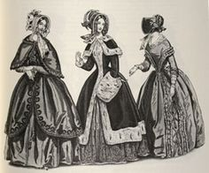 By 1840 the sleeves totally abandon the previous volume and become long and tight. The bodice, tight line and more 'elongated than before, further accentuates this verticality its' ending in a point, and boat-necks disappear in favor of a round neckline.  The skirts, which now touch the ground again, unlike buying volume and roundness', and to support them in this their growth comes the crinoline, a petticoat stiff horsehair woven with threads of wool and silk.