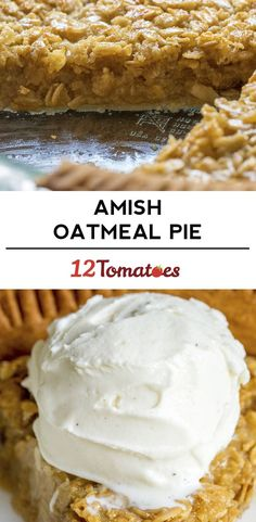 Classic Amish Oatmeal Pie (taste a lot like Pecan Pie) pie Amish Recipes, Pie Recipes, Sweet Recipes, Dessert Recipes, Cooking Recipes, Dutch Recipes, Meatloaf Recipes, Dinner Recipes, Just Desserts