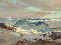 By Armand Cabrera Frederick Waugh is America's greatest marine painter. He was very successful in his long career. I did a biography on hi. Seascape Paintings, Landscape Paintings, Bateau Pirate, Theme Nature, Water Art, Beach Art, Painting Inspiration, Biography, Waves
