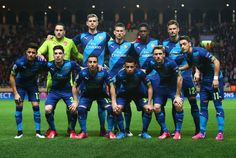 Arsenal line up prior to the UEFA Champions League round of 16 second leg match. Monaco 0-2 Arsenal (March 2015)