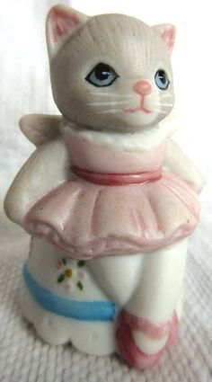 Thimble Bisque Cat SCHMID B SHACKMAN KITTY CUCUMBER 1990 Priscilla as Ballerina