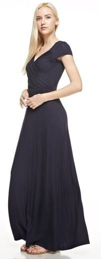 The Addison Maxi Dress features comfortable 95% rayon, 5% spandex material and has a gorgeous gathered fabric overlay in the bust and an empire waist.