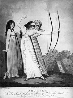 Women's archery has begun. Archers, engraved by J. Wright and Conrad Ziegler, 1799 (aquatint) by Adam Buck / Yale Center for British Art Jane Austen, Historical Costume, Historical Clothing, The Duchess Of Devonshire, Traditional Archery, Regency Era, Regency Dress, Empire Style, Fashion Plates